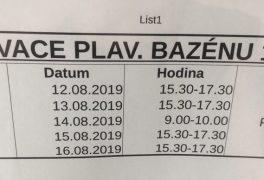 Rezervace bazénové haly od 12.8. – 16.8.